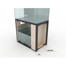 24寸長 18寸闊 20寸高  訂做全水晶玻璃魚缸連實木櫃(包電線收習箱)